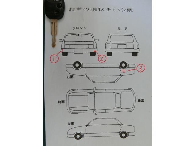 こちらのチェックシートに記入されている数字部分が特に目立つと思われるキズ、凹み等になります。画像でご確認下さい。