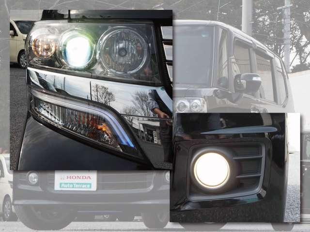 HIDヘッドライト!夜道や雨天時の安心感を高めます!照射軸の上下方向を自動調整するオートレベリング機構、周囲の明るさに応じて自動点灯/消灯するオートライトコントロール機構付きです!