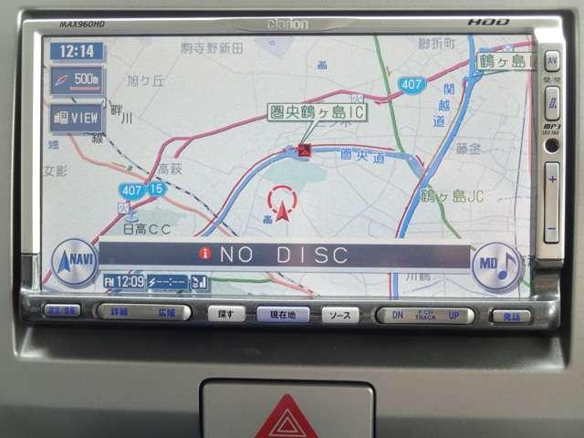 ナビゲーションは、クラリオン製HDDナビ MAX-960HD が装着しております。土地勘の無い所でも道に迷わず安心ですね!ドライブが一層楽しくなります!