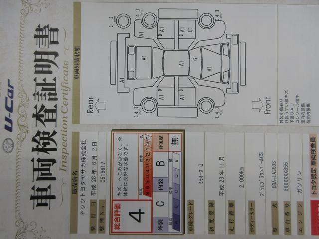 車両検査証明書です。当社HPのU−CARページでも詳しく記載しております。ご不明な点は、お気軽におたずねください。実施機関:ネッツトヨタヤサカ(株) 実施日:平成 28年6月2日