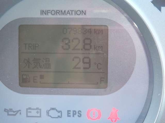 燃費計算やタイヤのローテーションなどを知らせてくれるメーターパネル♪走行距離は79,834kmです!