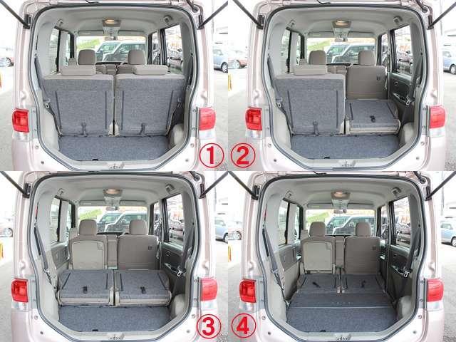 後部座席のアレンジをすることで、少し大きめの荷物を積むことができます。自転車等もラクに積めますよ^^