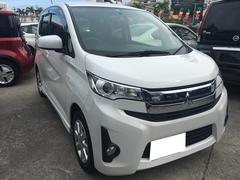 沖縄の中古車 三菱 eKカスタム 車両価格 86万円 リ済込 平成26年 4.1万K パールホワイト