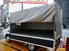 ダイナトラック3t全低床セミロング鉄板張荷台Bカメラ三方開幌付ディーゼル車