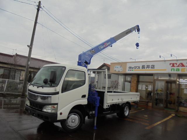 日野 デュトロ ワイドロング低床タダノ4段クレーンラジコン付 (車...
