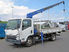 エルフトラッククレーン付平 積載3t ワイド 4段ラジコンフックイン 木床