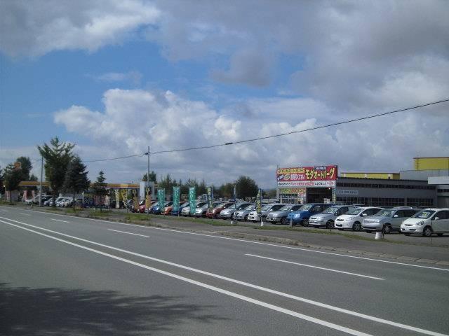 国道39号線(大雪国道)当麻町にございます!モダ石油GSスタンドと大きなモダ看板が目印です!