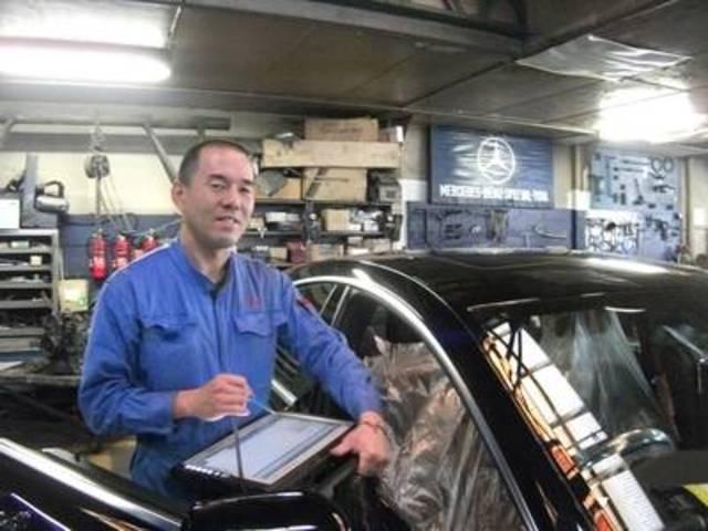工場長の澤田です。当社はメルセデス認定1級整備士1名、2級整備士も1名在籍。安心してお任せ下さい!