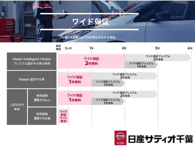ワイド保証は2年もしは1年となっており、アフタフォローも充実しております。ご購入後も安心して乗っていただける日産車です。