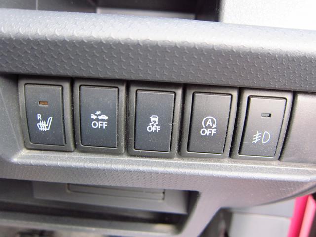 左からシートヒーター、衝突被害軽減ブレーキシステム、ESP,アイドリングストップオフスイッチ、フォグランプスイッチ