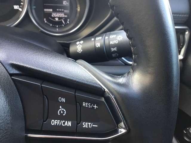 ステアリング左右にはオーディオディスプレイ操作やクルーズコントロールのスイッチがありステアリングから手を離さなくても操作できます。