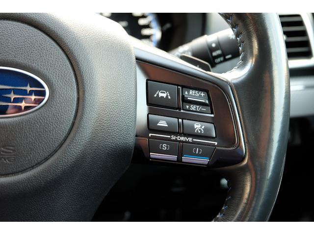 アイサイトと連動「全車速追従クルーズコントロール」の操作スイッチ。ステアリング右に付いています。操作性もバッチリ!