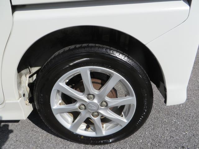 リア:純正14インチアルミホイールはガリキズ凸凹少なく美品です、タイヤは4本ともにブリジストン・ネクストリーのバリ山タイヤです。