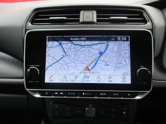 リーフ専用NissanConnectナビは充電スポットの自動更新や、Bluetooth対応充実したAV機能。