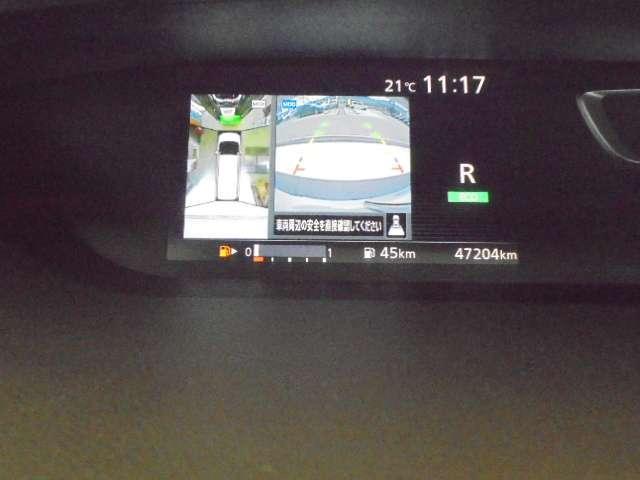 """空から見ているような視点で周囲が確認できるアラウンドビューモニター、進行方向周辺の移動物を感知する""""MOD""""機能付きで安全運転をサポートします。"""
