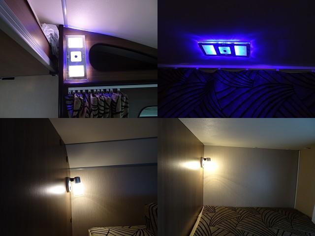 他にも運転席上、昇降式ベッド上には2段階調色式LED照明!2段ベッドにそれぞれLED照明を設置!