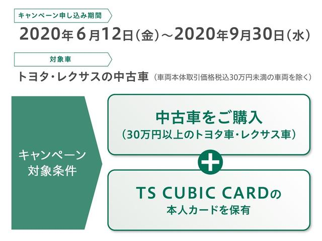 6月12日〜9月30日までのキャンペーン期間中に当店で車両本体価格30万円以上(税込)のトヨタ車・レクサス車を御購入の方にTS CUBIC CARD40,000ポイントプレゼント。詳細はスタッフまで。