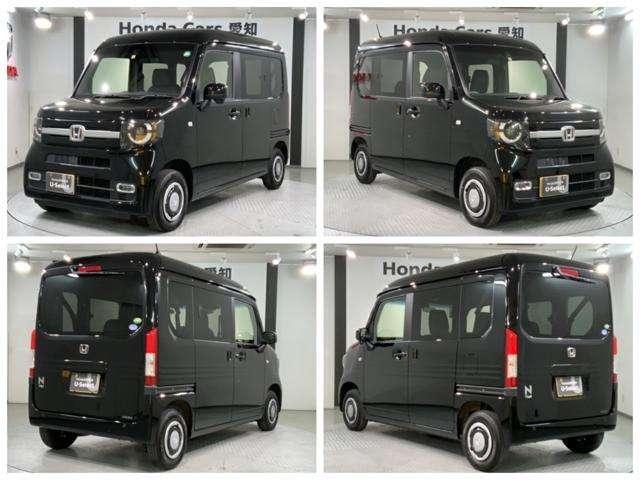 ホンダセンシング 当社試乗車 ギャザズメモリーナビ LEDヘッドライト装備の黒色のN-VAN+スタイル ファンホンダセンシング入庫しました。