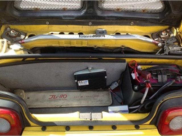 ベースグレード 5速MT 前後タワーバー 無限マフラー 車高調 HID 黒革調シートカバー momoステアリング FRPトランク フルエアロ レイズCE28 14インチAW(13枚目)