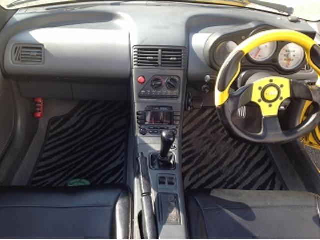 ベースグレード 5速MT 前後タワーバー 無限マフラー 車高調 HID 黒革調シートカバー momoステアリング FRPトランク フルエアロ レイズCE28 14インチAW(21枚目)