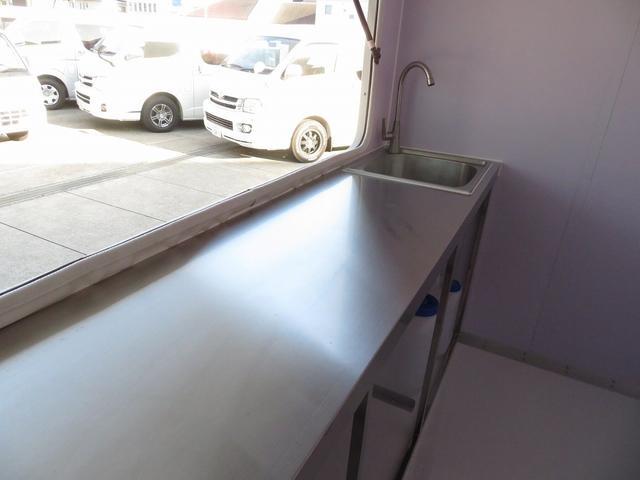 DX 移動販売車両 キッチンカー シンク 給水排水タンク 換気扇 100V外部電源 ステンレス製カウンター LED室内照明 Wエアバック ABS パワステ 4ナンバー登録(9枚目)