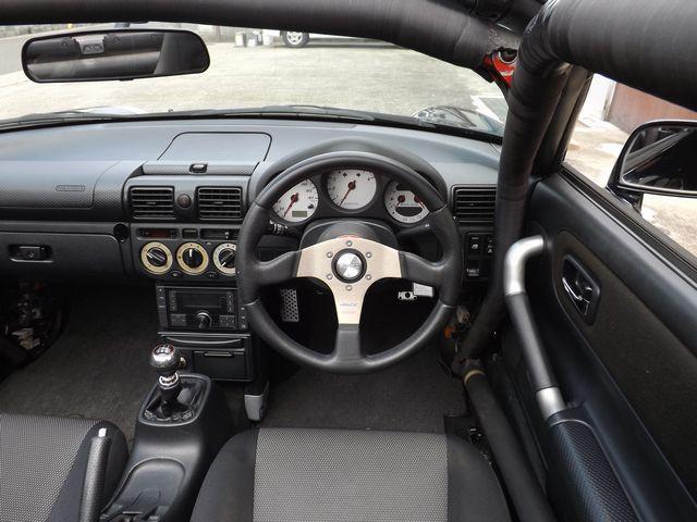 Sエディション 5MT・ダッシュ逃4点式げロールゲージ・ETC車載器・外ステ/シフト・車高調・外マフラ・ファイナルヘッドライトユニット・外HID・社外製17インチアルミ・外クラ/フライ・(8枚目)