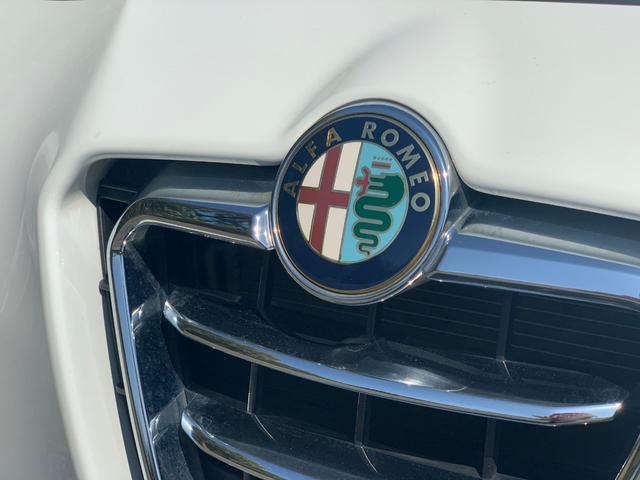 アルファロメオのエンブレムです。左の十字はミラノの紋章、右は十字を飲み込む大蛇を意味しています。