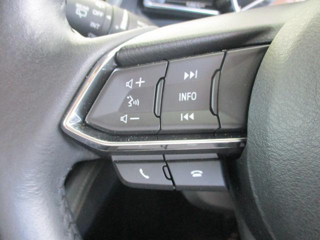 ステアリングホイール左スポーク部にはオーディオリモートコントロールスイッチとハンズフリーフォンの通話/終話スイッチが装備されています!