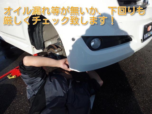 乗車時の安全性を第一優先に考え、タイヤをはずした状態で、足回りをチェック!走行において問題がないか、問題になる可能性がないかを確かめます。