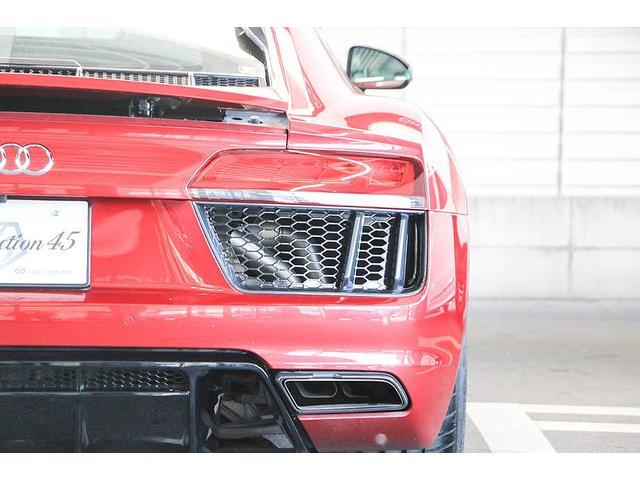 V10クーペ 5.2FSIクワトロ 正規ディーラー車 各所グロスブラック塗分 アクラポビッチマフラー KW車高調 外装スペシャルオーダーカラー ダイヤモンドキルティングレッドステッチ カーボンサイドブレード デコラティブカーボンパネル(38枚目)