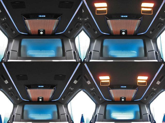 ●リヤセンターコンソール(集中コントロールタッチパネル・大型テーブル<アルミ削り出し>内蔵・フルパーテーション窓スイッチ・アクセサリーコンセントAC100V・USB充電端子)●専用フロアマット