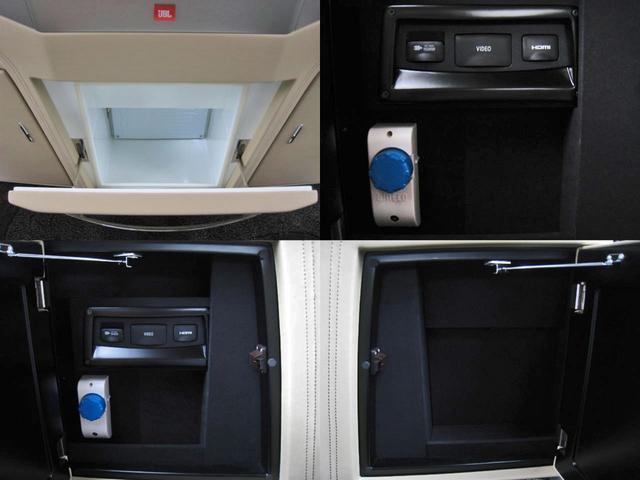 ロイヤルラウンジSP 4WD フルパーテーション液晶調光リヤシェードエクストラキャビネット冷蔵庫リヤエンターテイメント24型TVロイヤルラウンジ専用VIPリラクゼーションシート集中コントロールタッチパネルモデリスタエアロ(36枚目)