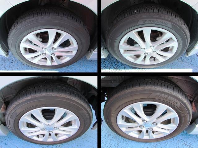 タイヤは純正15インチアルミホイールです。タイヤの溝はどれも5分山です。  ご不明な点等ございましたらお気軽にお問い合わせくださいね。通話料無料!0066-9705-6902