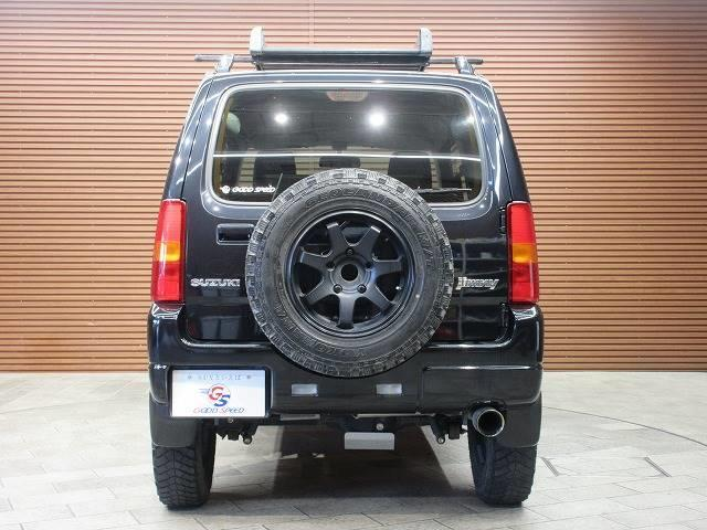 ランドベンチャー 4WD 社外マフラー 社外AW 5速MT ターボ オーディオ 背面タイヤ レザーシート シートヒーター ステアリングリモコン TERZOルーフキャリア ツィーター フォグランプ(14枚目)