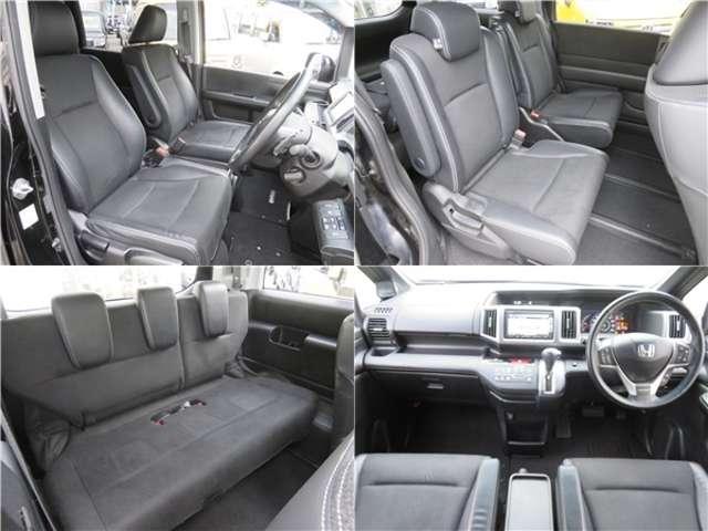■内装■車内は黒を基調としていますので落ち着いた雰囲気を味わうことができます。またハーフレザーシートですので高級感漂う内装になっています♪
