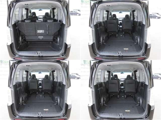 ■荷室■開口部が大きく荷物も積み下ろしなどが使いやすいです。また3列目を床下に収納することによってより広くなりますので使い勝手が良く便利です☆