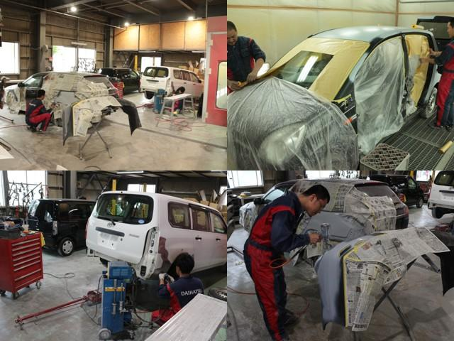 板金工場も完備!ちょっとしたキズやヘコミ、事故車の修理等の修復は高い技術と充実した設備の当社工場にお任せ下さい。