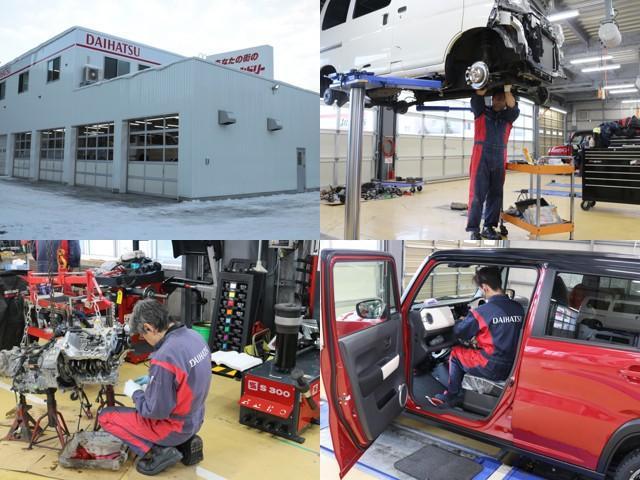 サービス工場も新しくなりました!!当社認証工場では車検・点検整備から一般修理まで充実のアフターサービスを受けることができます♪