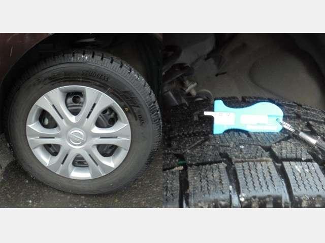 冬タイヤには純正スチールホィールが装着され残量は約7mmです。