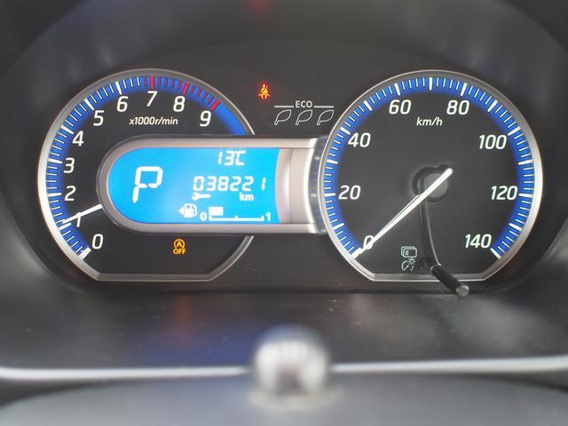 速度計と回転計が左右に配置された、見やすいメーターパネルです。