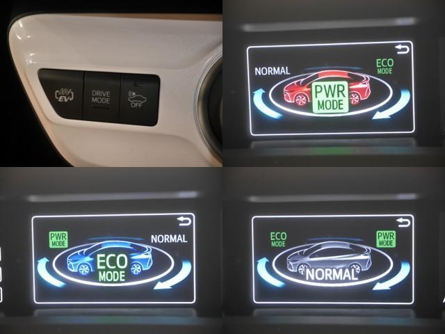 パワフルな走行が楽しめるPWRモード、燃費を向上させるECOモードの切り替えができるDRIVEモードスイッチ、動力を切替えられるEV/HVモード、車両接近通報スイッチ
