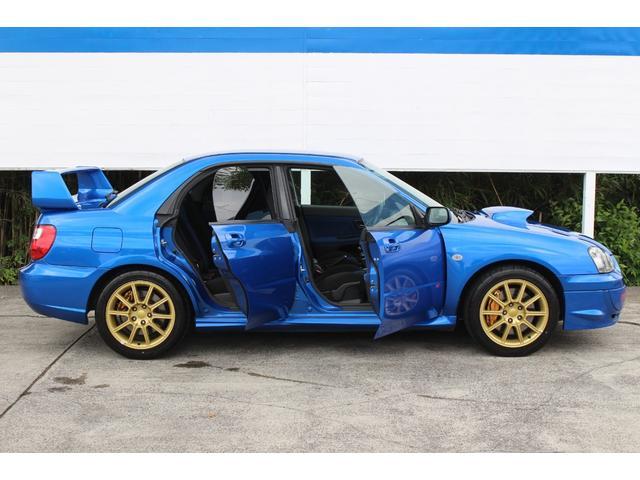 WRX STi E型 記録簿8枚 フジツボマフラー HKSEVC サブコン ブレンボキャリパー 純正17インチアルミ ETC 4WD キーレス ターボ 電動格納ミラー(54枚目)