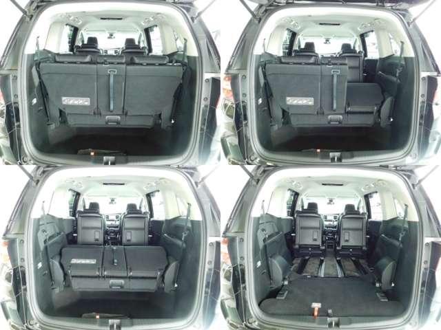 3列目シートを床下に収納すると、フラットで大容量の荷室を作ることができますよ♪
