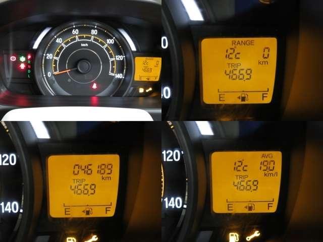 シンプルな一体式のメーターは中央にスピードメーター左に回転計・右に燃料計・デジタル表示で距離計になっています