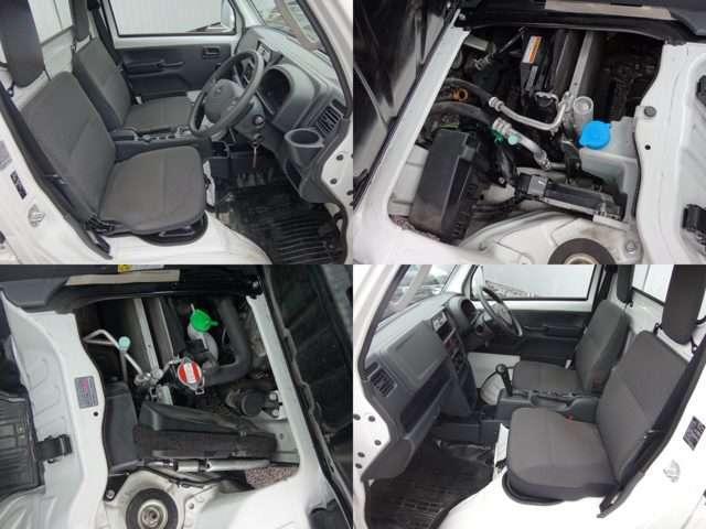 ゆったり座れるワイドな室内は、14段階、最大140mmのスライド量を確保。最適な運転姿勢が得られます。またタイヤハウスがシート下にあるため足元スペースを広く確保できます。