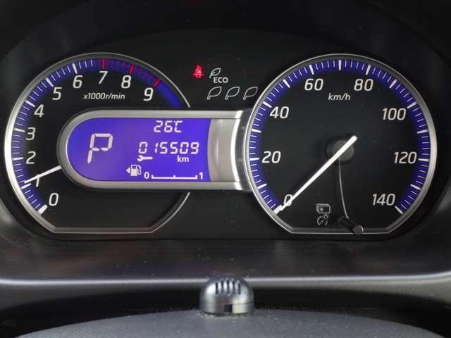 ファインビジョンメーター(エコドライブインジケーター付き)で低燃費走行を一目で確認できます☆高速走行時は、ターボエンジンで力強く元気な走りをサポートします! 走行距離 15509km