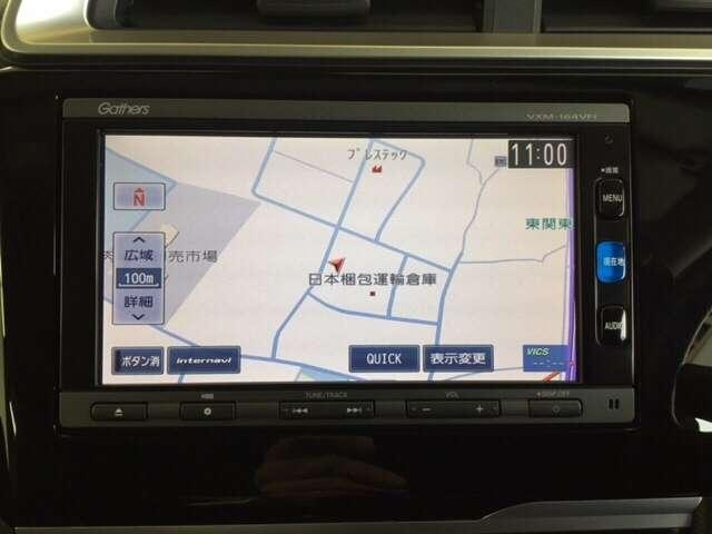 お出かけに便利な高性能純正メモリーナビ。(ギャザズVXM-164VFi )  Honda 独自の インターナビ でリアルタイムな情報が入ります。
