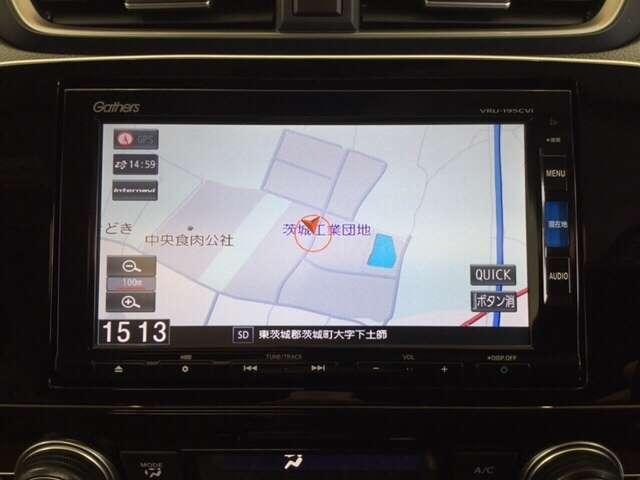お出かけに便利な高性能純正メモリーナビ付き。(ギャザズVRU-195CVi ) Honda独自の インターナビ でリアルタイムな情報が入ります。