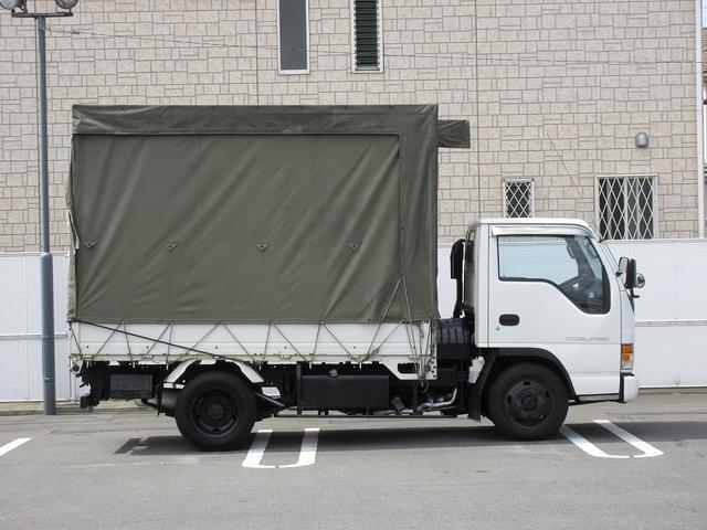 2t積4WD平ボディ幌車左右後カーテンワンオーナ-(6枚目)