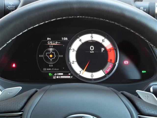 FSPORT専用8インチTFT液晶式メーター。ステアリングスイッチ操作で可動式のメーターリングが動き車両の重力加速度状態を表示させることができる等スポーツ走行中のドライバーをインテリジェントにサポート